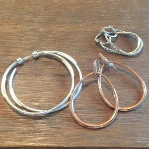 3 pairs of hop earrings - small, medium & large